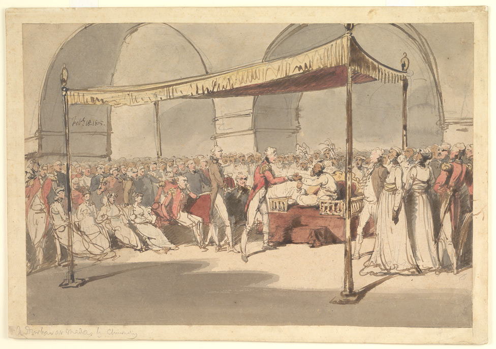 Major-General the Hon. Arthur Wellesley being received in durbar at the Chepauk Palace Madras by Azim al-Daula, Nawab of the Carnatic, 18th February 1805.